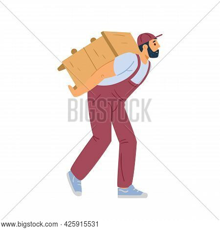 Moving Service Loader Carrying Furniture, Flat Vector Illustration Isolated.