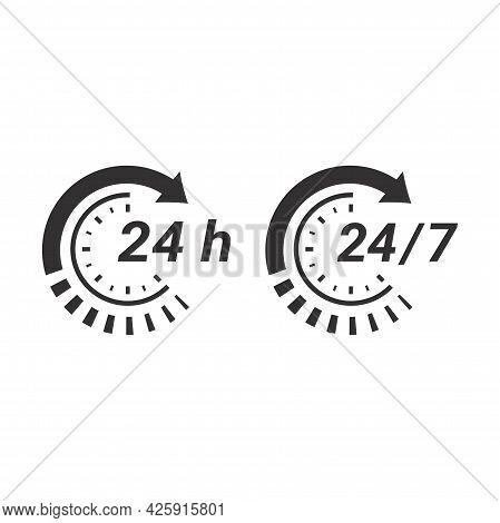 24 7 Non Stop Circle Arrow Loop Nonstop Icon Clock.eps
