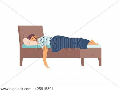 Man Sleeping In His Bed At Night, Flat Vector Illustration Isolated On White.