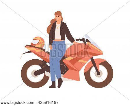 Young Female Biker Posing Near Motor Bike. Woman Standing By Modern Motorcycle. Happy Motorcyclist A