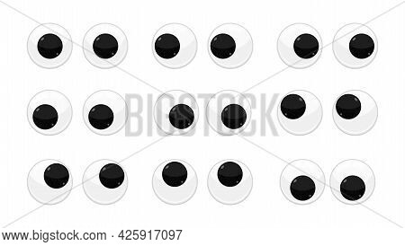 Plastic Toy Safety Wobbly Eyes Flat Style Design Vector Illustration Set Isolated On White Backgroun