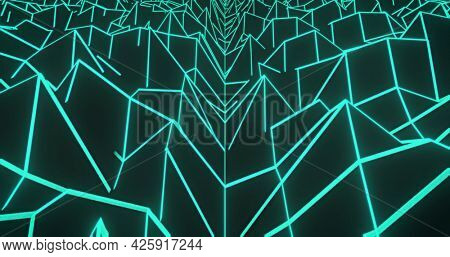 Image of glowing green outlined mountains on map moving on seamless loop. retro image gaming colour and movement concept