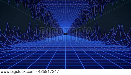 Image of glowing blue grid tunnel moving on seamless loop. colour and movement concept digitally generated image.