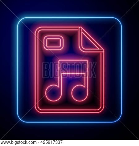 Glowing Neon Mp3 File Document. Download Mp3 Button Icon Isolated On Black Background. Mp3 Music For