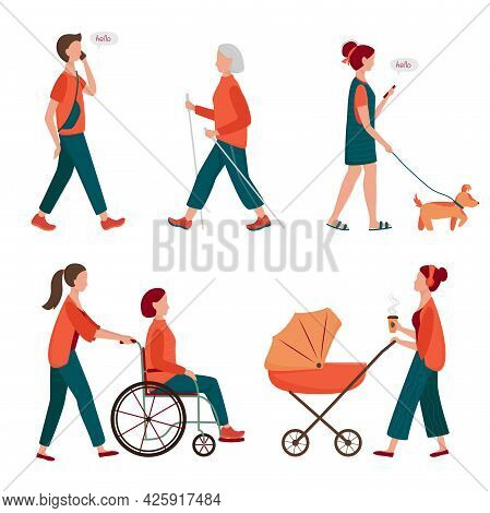 Walking People Set. Flat Characters Walking With Dog Outdoor, Mom With Pram, Elderly Woman On Scandi