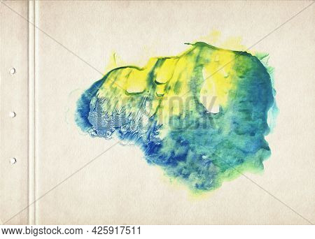 Colorful Watercolor Spot. Abstract Watercolor Painting On Old Paper. Multicolored Smudged Texture Ba
