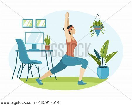 Woman Is Doing Exercises In Room. Female Character Stretches On Green Carpet. Large Pot With Decorat