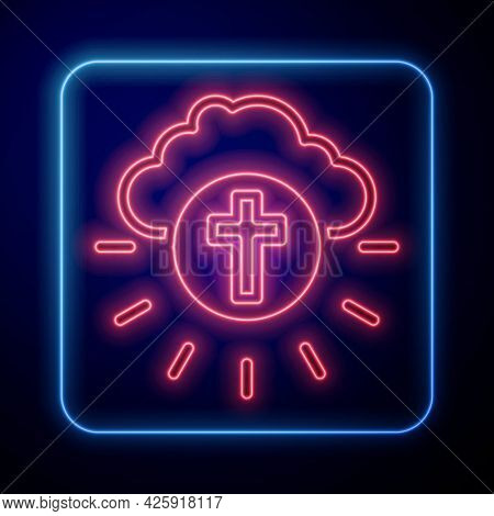 Glowing Neon Religious Cross In The Circle Icon Isolated On Black Background. Love Of God, Catholic