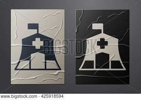 White Emergency Medical Tent Icon Isolated On Crumpled Paper Background. Provide Disaster Relief. Pa