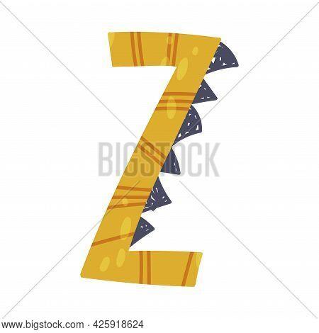 Dino Alphabet Capital Ornamental Letter Z Vector Illustration