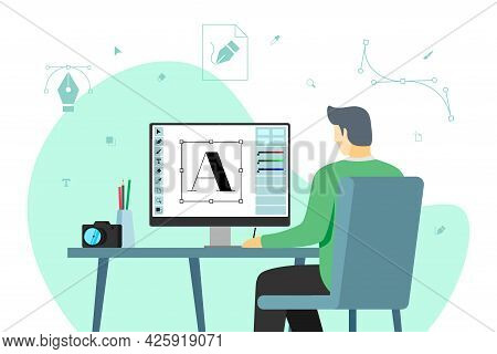 Man Graphic Designer Work At Computer In Workplace. Male Creative Specialist Freelancer Or Advertisi