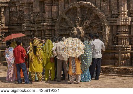 Konark, Orissa, India - May 13, 2008: Local Tourists At The Ancient Surya Hindu Temple At Konark Ori