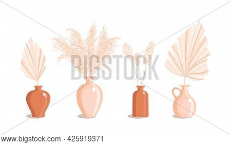 Vases With Dry Grass And Palm Leaves. Dried Floral Ornament Elements In Boho Style. New Trendy Home