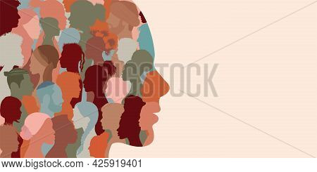 Banner Copy Space. Silhouette Profile Group Of Men And Women Of Diverse Culture. Diversity Multi-eth