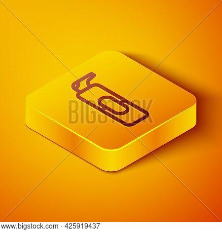 Isometric Line Spray Can For Hairspray, Deodorant, Antiperspirant Icon Isolated On Orange Background