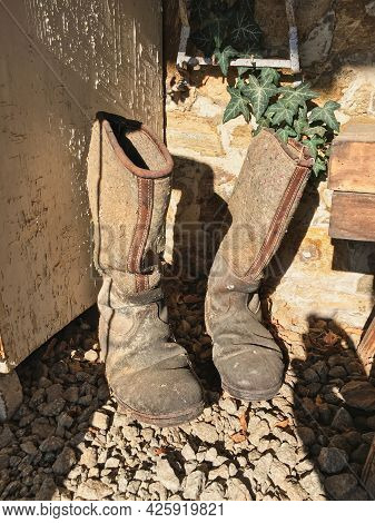 Old Dirty Vintage Military Boots, Shoes Of The 1930- 1940s. Men's Vintage Shoes. Old Leather And Fel