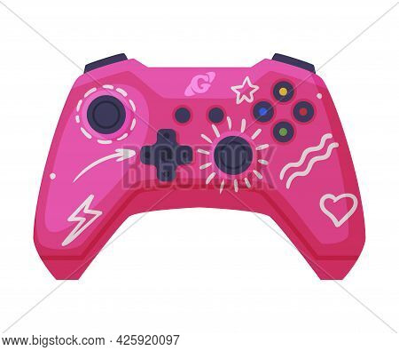 Video Game Console Pink Controller, Joystick Of Modern Game Console Cartoon Vector Illustration