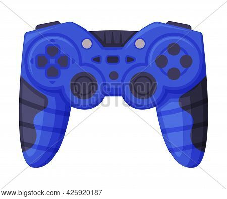 Video Game Console Blue Controller, Joystick Of Modern Game Console Cartoon Vector Illustration
