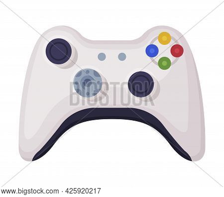 Modern Video Game Console Controller, Joystick Of Game Console Cartoon Vector Illustration