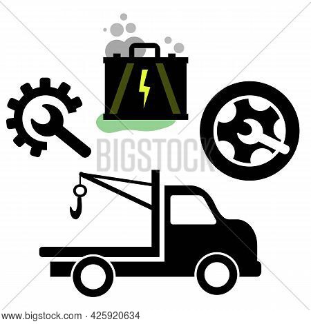 Simple Car Repair Service Set With Engine, Tow Truck, Wheel Repair. Car Fixing Service Icons For Aut