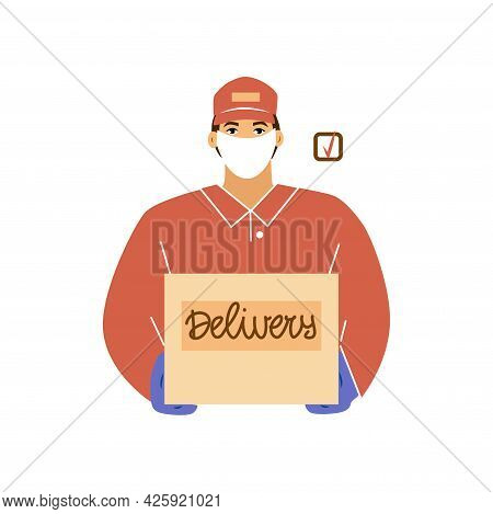 A Delivery Man In A Uniform And A Protective Mask, Wearing Gloves. He Holds A Box In His Hands. Deli