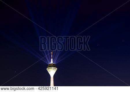 Duesseldorf, Rhine Tower With Laserstrahen