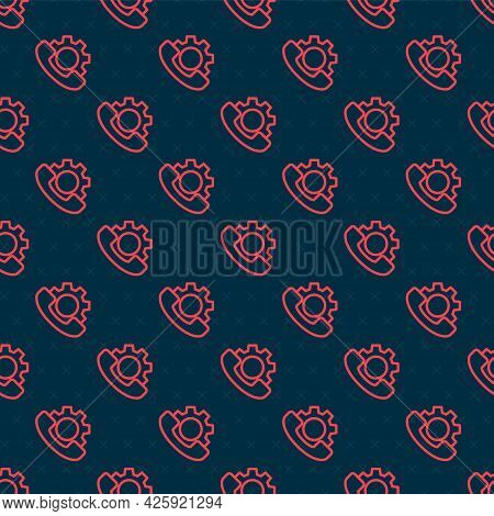 Red Line Telephone 24 Hours Support Icon Isolated Seamless Pattern On Black Background. All-day Cust