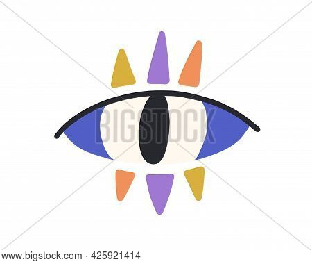 Magic Evil Eye With Colorful Eyelashes. Mystical Spiritual Eyeball In Doodle Style. Turkish Abstract