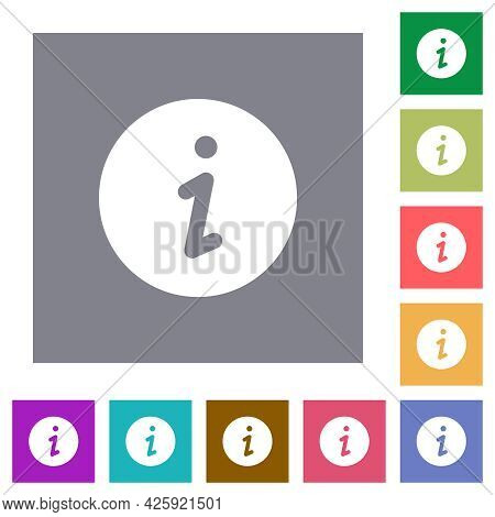 Info Flat Icons On Simple Color Square Backgrounds