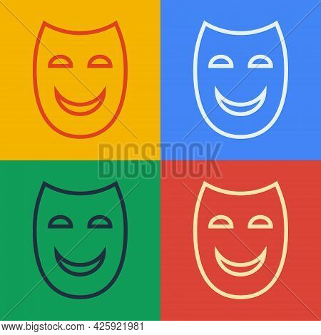 Pop Art Line Comedy Theatrical Mask Icon Isolated On Color Background. Vector