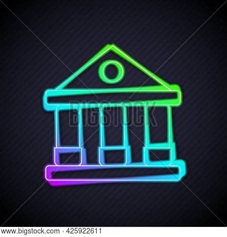 Glowing Neon Line Courthouse Building Icon Isolated On Black Background. Building Bank Or Museum. Ve