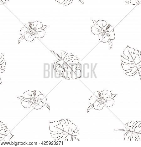 Hand Drawn Hibiscus Flowers And Monstera Leaves Seamless Pattern For Background, Wrapping Paper, Pac