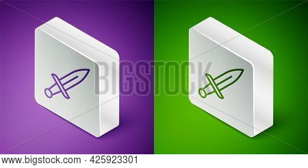 Isometric Line Dagger Icon Isolated On Purple And Green Background. Knife Icon. Sword With Sharp Bla