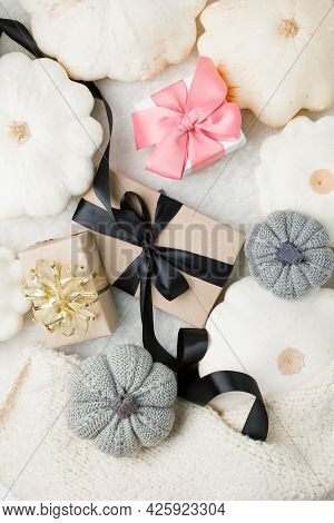Monochrome Composition With Gift Box And White Pumpkin Squash. Thanksgiving, Harvesting, Halloween,