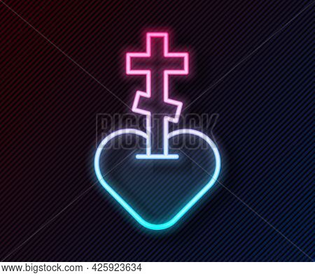 Glowing Neon Line Religious Cross In The Heart Inside Icon Isolated On Black Background. Love Of God