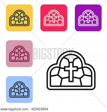 Black Line Stained Glass Ancient Cathedral, Temple, Church Icon Isolated On White Background. Set Ic