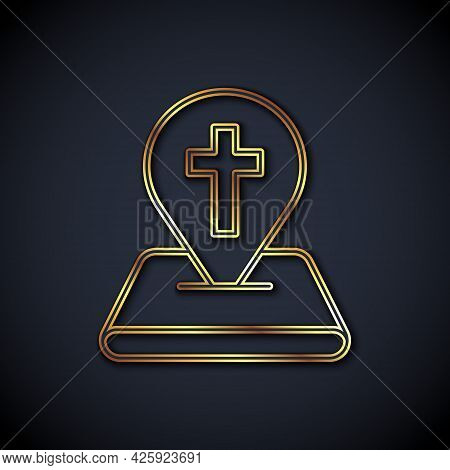 Gold Line Map Pin Church Building Icon Isolated On Black Background. Christian Church. Religion Of C