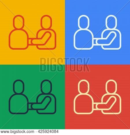 Pop Art Line Happy Friendship Day Icon Isolated On Color Background. Everlasting Friendship Concept.