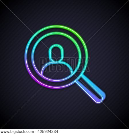Glowing Neon Line Magnifying Glass For Search A People Icon Isolated On Black Background. Recruitmen