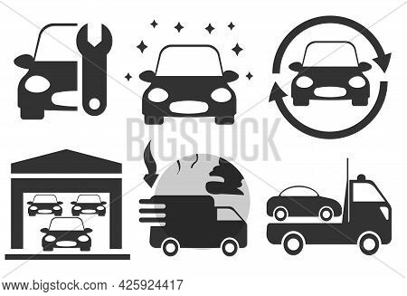 Simple Car Icons Set For Auto Service. New Car, Used Car, Repair, Auto Gallery, Import Transport, To