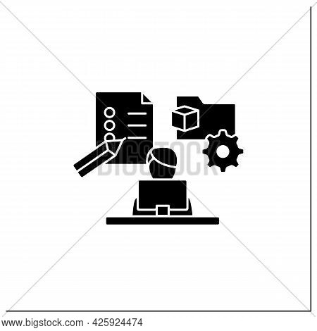 Project Management Glyph Icon.manage All Works On Laptop. Planning, Controlling And Closing Projects
