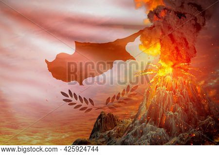 High Volcano Eruption At Night With Explosion On Cyprus Flag Background, Problems Of Eruption And Vo