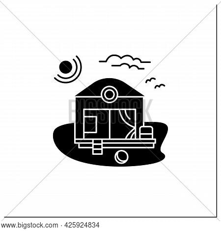 Beach Hut Glyph Icon. Modern Comfortable Hotel Room On Beach. Perfect Relax Place. Seascape. Rest Co