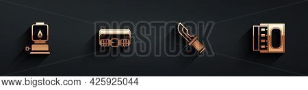 Set Camping Lantern, Hunting Cartridge Belt, Hunter Knife And Matchbox And Matches Icon With Long Sh