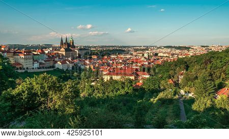 Prague Castle And Lesser Town Panorama. View From Petrin Hill. Prague, Czech Republic. Spring Prague