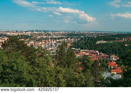 A View Of The Lesser Town And Petrin Hill With Its Famous Lookout Tower From Prague Castle Ramparts