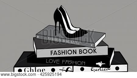 Composition of shoes and fashion books on grey background. fashion design, fashion show and clothing concept digital image.