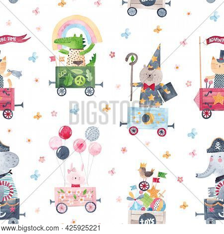 Cute pattern with cheerful friends in the toy train carriages. Watercolor seamless pattern. Pattern for gift wrapping, decor for a children's room.