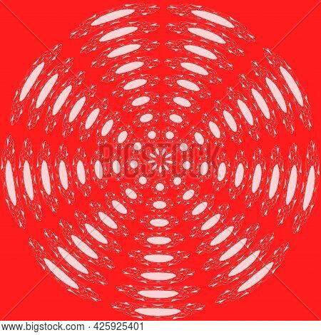 Abstract Circle Background Made Of Red And White Segments