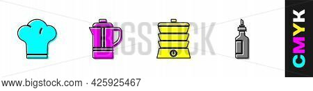 Set Chef Hat, Teapot, Slow Cooker And Bottle Of Olive Oil Icon. Vector